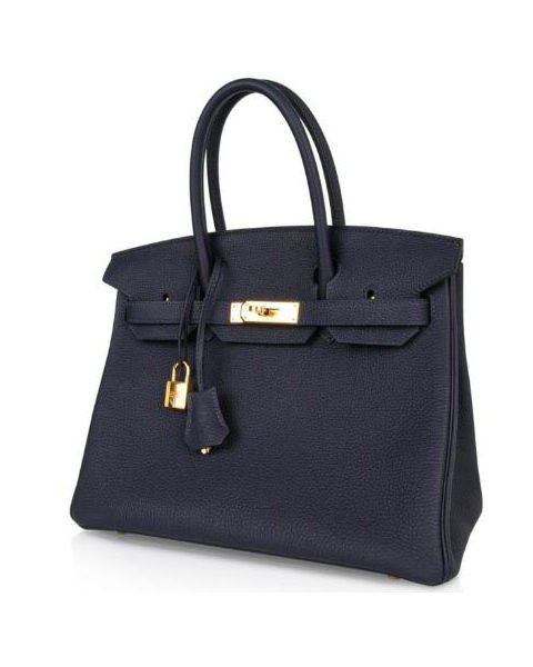 HERMES BIRKIN 30 BLUE NUIT TOGO LEATHER GOLD HW HANDBAG