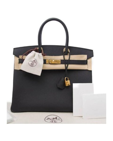 HERMES BIRKIN 35 BLACK EPSOM LEATHER WITH GOLD HARDWARE HANDBAG