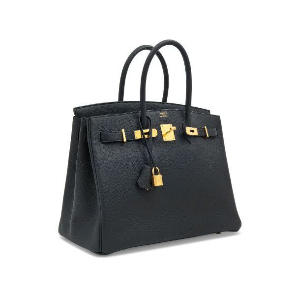 HERMES BIRKIN 35 BLACK TOGO LEATHER WITH GOLD HARDWARE HANDBAG