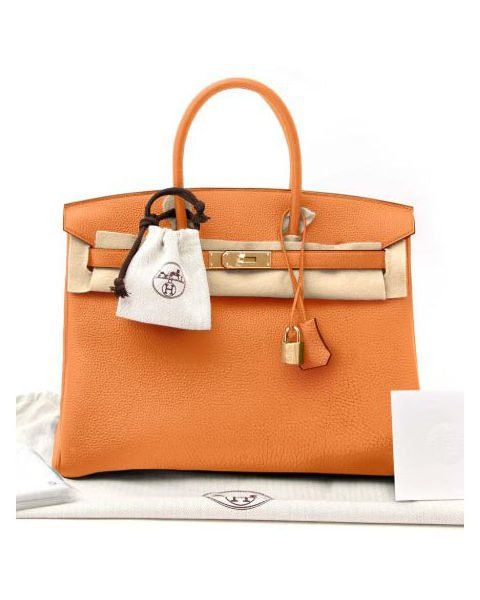 HERMES BIRKIN 35 ORANGE POPPY TOGO LEATHER WITH GOLD HARDWARE HANDBAG