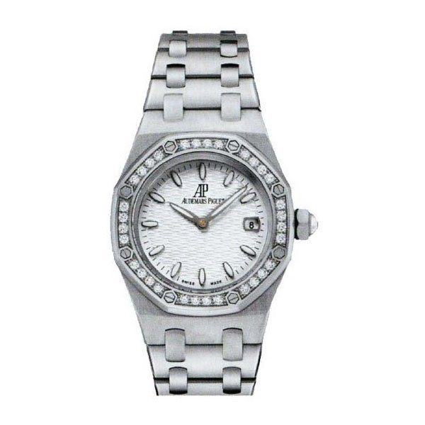 AUDEMARS PIGUET ROYAL OAK 33MM STAINLESS STEEL DIAMOND SILVER DIAL LADIES WATCH