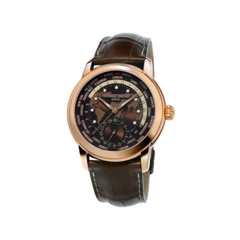 FREDERIQUE CONSTANT WORLDTIMER 42MM STAINLESS STEEL 18K ROSE GOLD PLATED MEN'S WATCH FC-718BRWM4H4