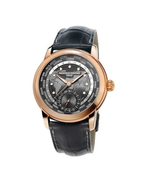 FREDERIQUE CONSTANT WORLDTIMER 42MM STAINLESS STEEL 18K ROSE GOLD PLATED MEN'S WATCH FC-718DGWM4H4