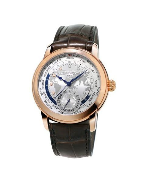 Frederique Constant Pre-owned Worldtimer 42mm Stainless Steel 18k Rose Gold Plated Men's Watch