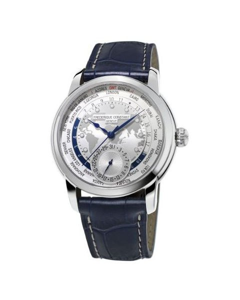 Frederique Constant Pre-owned Worldtimer 42mm Stainless Steel Men's Watch