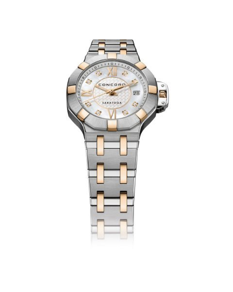 CONCORD SARATOGA STAINLESS STEEL AND ROSE GOLD 28MM