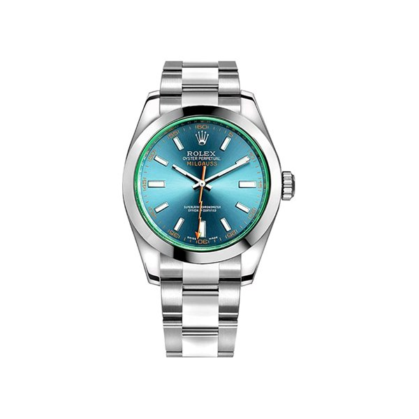ROLEX  PRE-OWNED MILGAUSS BLUE DIAL STAINLESS STEEL CASE & OYSTER BRACELET