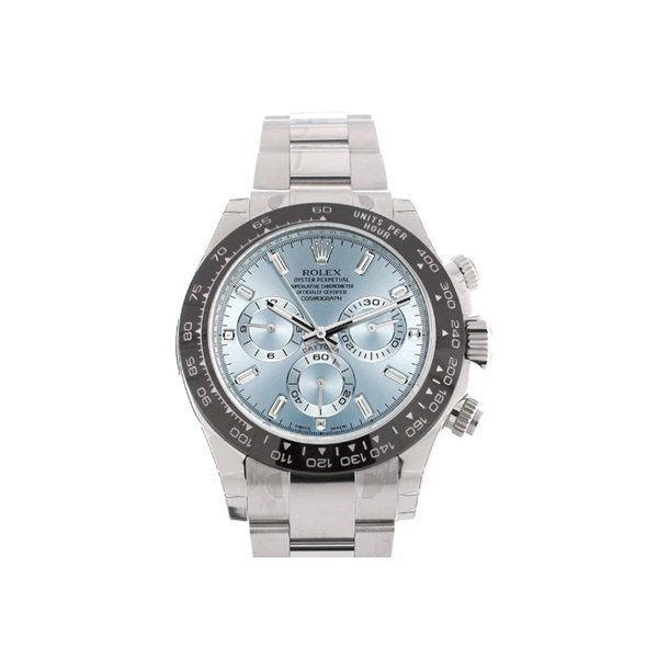 PROFESSIONAL ROLEX COSMOGRAPH DAYTONA ICE BLUE 8 BAGUETTE DIAMOND PLATINUM MEN'S WATCH