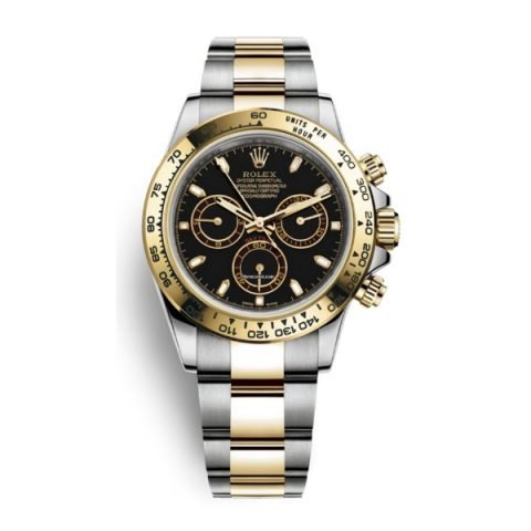PROFESSIONAL ROLEX COSMOGRAPH DAYTONA BLACK DIAL STAINLESS STEEL AND 18K YELLOW GOLD OYSTER BRACELET AUTOMATIC MEN'S WATCH