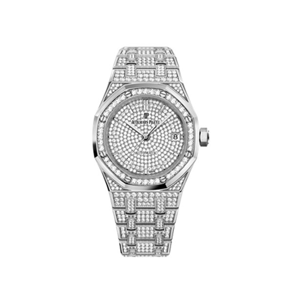 AUDEMARS PIGUET WHITE GOLD ROYAL OAK DIAMOND WATCH 15452BC.ZZ.1258BC.01