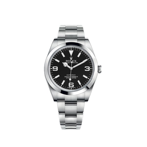 ROLEX EXPLORER BLACK DIAL STAINLESS STEEL OYSTER BRACELET AUTOMATIC MEN'S WATCH