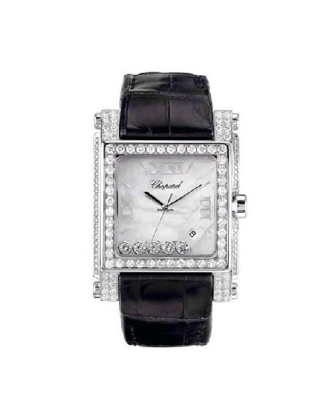 Chopard Happy Sport Square 18kt White Gold with Diamonds Ladies Watch