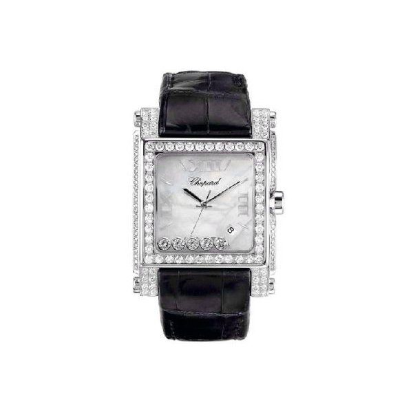 CHOPARD HAPPY SPORT SQUARE WITH DIAMOND BEZEL & CASE XL WHITE GOLD ON STRAP WITH MOP DIAL