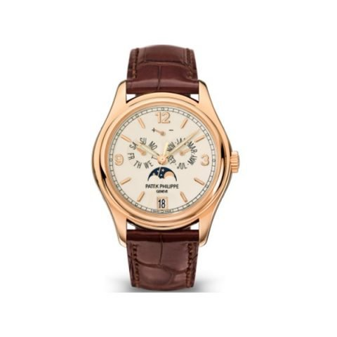 PATEK PHILIPPE COMPLICATIONS 5146R-001 ROSE GOLD ANNUAL CALENDAR MOON PHASE DATE CREAM