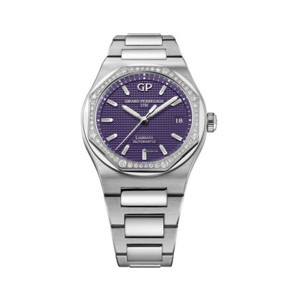 GIRARD PERREGAUX LAUREATO AUTOMATIC DIAMOND PURPLE DIAL LADIES WATCH