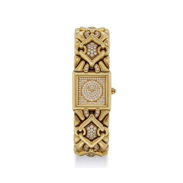 BVLGARI 18K GOLD AND DIAMOND-SET HEAVY SQUARE BRACELET WATCH