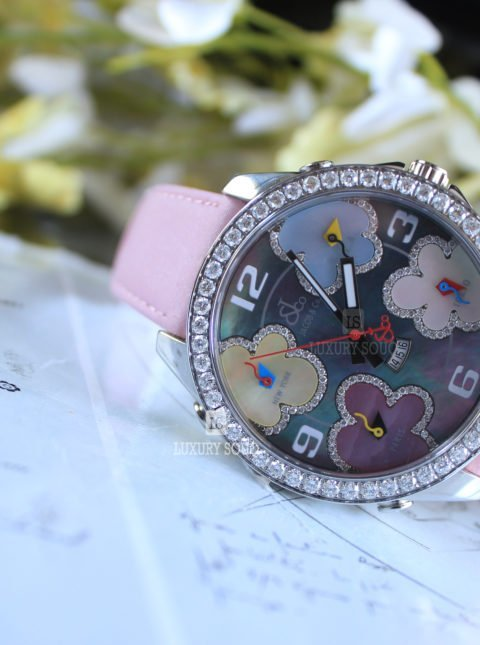 JACOB & CO. FIVE TIME ZONE DIAMOND-ACCENTED MOTHER OF PEARL DIAL UNISEX WATCH