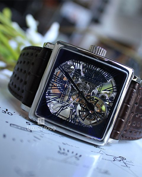 ROGER DUBUIS GOLDEN SQUARE SKELETON TOURBILLON WHITE GOLD ON BLACK LEATHER STRAP WITH SKELETON DIAL