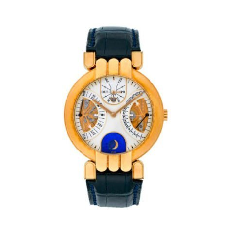 HARRY WINSTON PREMIERE BIRETROGRADE PERPETUAL CALENDAR 18K YELLOW GOLD 37MM 18K YELLOW GOLD MEN'S WATCH
