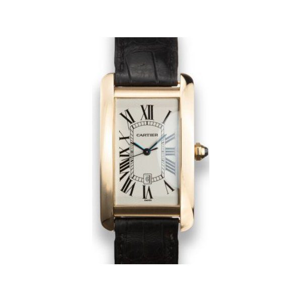 CARTIER 18K YG TANK AMERICAINE AUTOMATIC MEN'S WATCH
