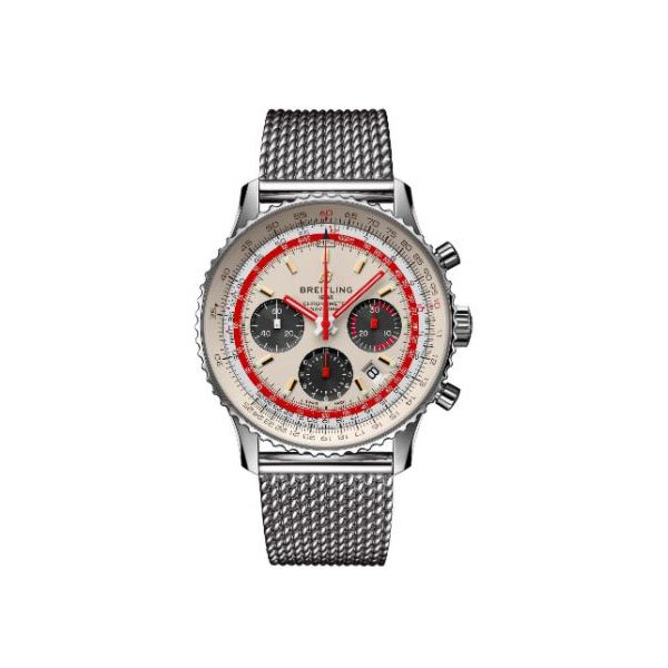 BREITLING NAVITIMER CHRONOGRAPH AUTOMATIC CHRONOMETER SILVER DIAL MEN'S WATCH REF. AB01219A1G1A1