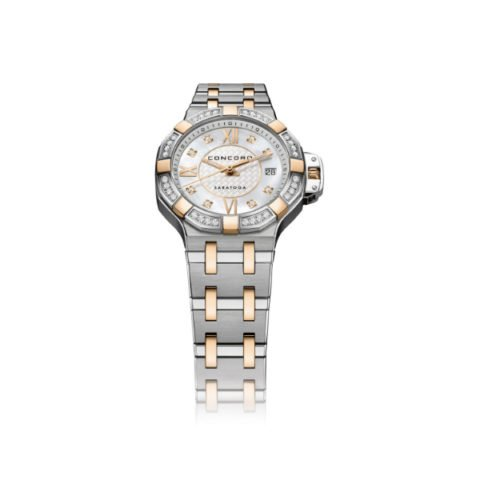CONCORD SARATOGA STAINLESS STEEL & ROSE GOLD 28MM LADIES WATCH