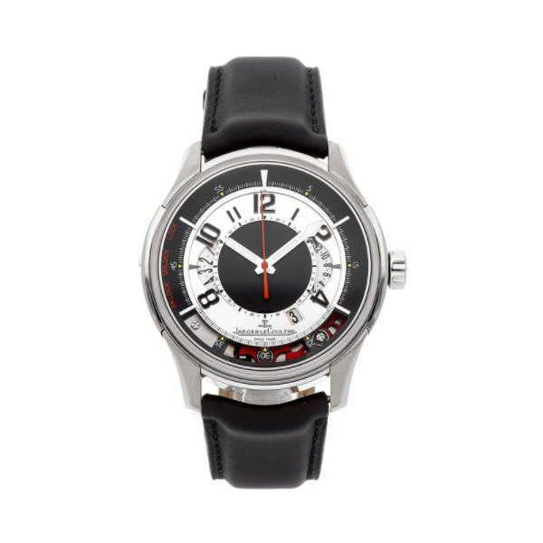 JAEGER LECOULTRE AMVOX2 BLACK AND SILVER DIAL STAINLESS STEEL BLACK LEATHER AUTOMATIC MEN'S WATCH