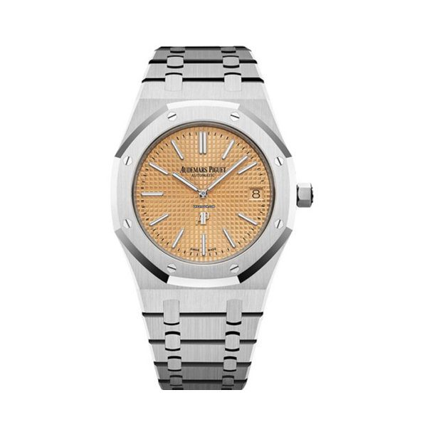 "AUDEMARS PIGUET ROYAL OAK ""JUMBO"" EXTRA-THIN WHITE GOLD PINK GOLD TONED INDEX DIAL & FIXED WHITE GOLD BRACELET 15202BC.OO.1240BC.01"