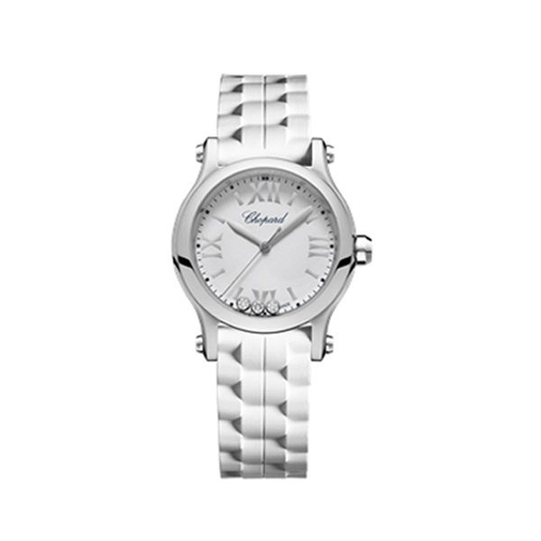 CHOPARD HAPPY SPORT ROUND WATCH 30MM STEEL CASE SILVER DIAL BLACK AND WHITE RUBBER STRAP REF. 278590-3001