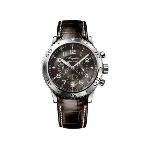BREGUET TYPE XXI FLYBACK CHRONOGRAPH 42MM STEEL KROKO STRAP BROWN DIAL AUTOMATIC REF. 3810ST929ZU