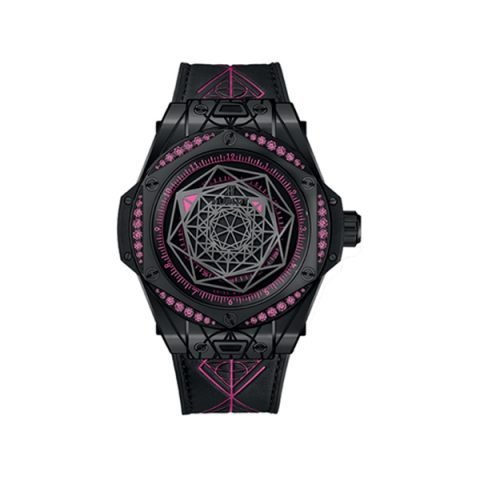 HUBLOT BIG BANG SANG BLEU ALL BLACK PINK 39MM CERAMIC & DIAMOND DIAL LIMITED EDITION 100 PCS REF. 465.CS.1119.VR.33MXM18