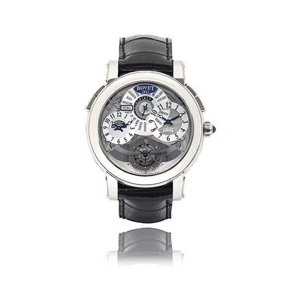 BOVET DIMIER 18K WHITE GOLD SEMI-SKELETONISED DUAL TIME AND TOURBILLON WRISTWATCH REF. D501