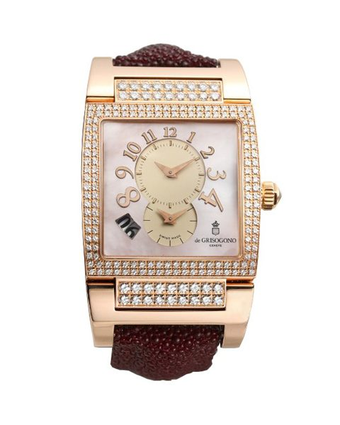 DE GRISOGONO INSTRUMENTO UNO 18K ROSE GOLD MOTHER OF PEARL DIAL DIAMOND CASE