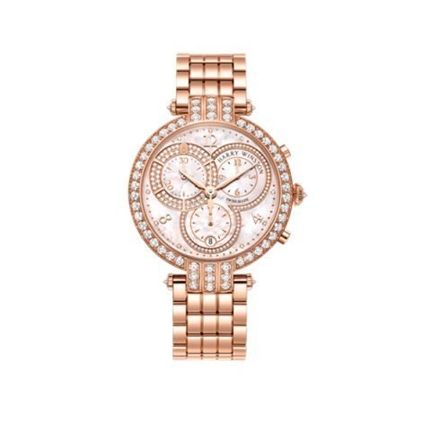 HARRY WINSTON PREMIER MOTHER OF PEARL DIAL 18K ROSE GOLD CHRONOGRAPH LADIES WATCH