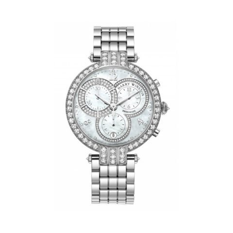 HARRY WINSTON PREMIER CHRONOGRAPH TIMEPIECE WHITE LIGHT MOTHER OF PEARL PARTIALLY SET DIAL