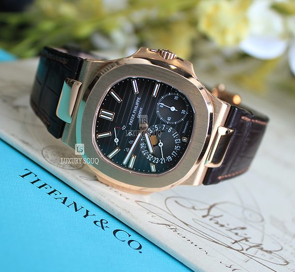 """Tiffany Patek Philippe Pre-Owned Nautilus 5712R-001 """"Tiffany & Co."""" Moonphase Rose Gold"""