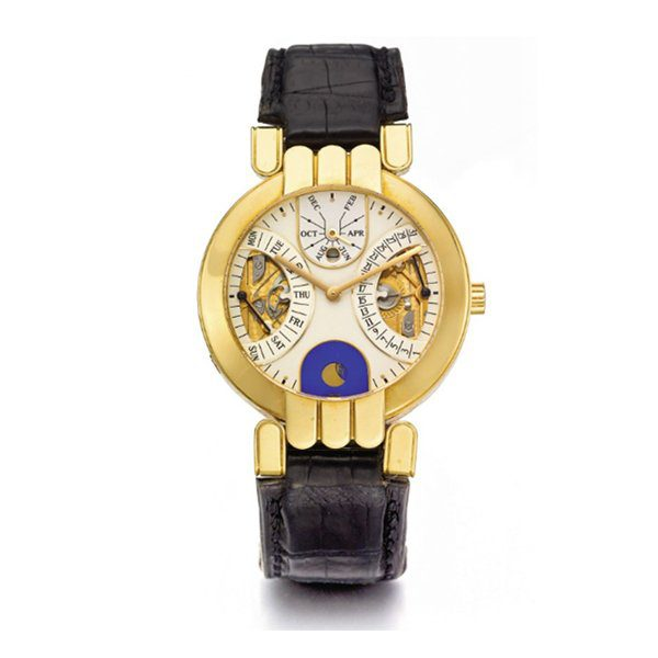 HARRY WINSTON YELLOW GOLD RETROGRADE PERPETUAL CALENDAR MOON PHASE CIRCA 2005