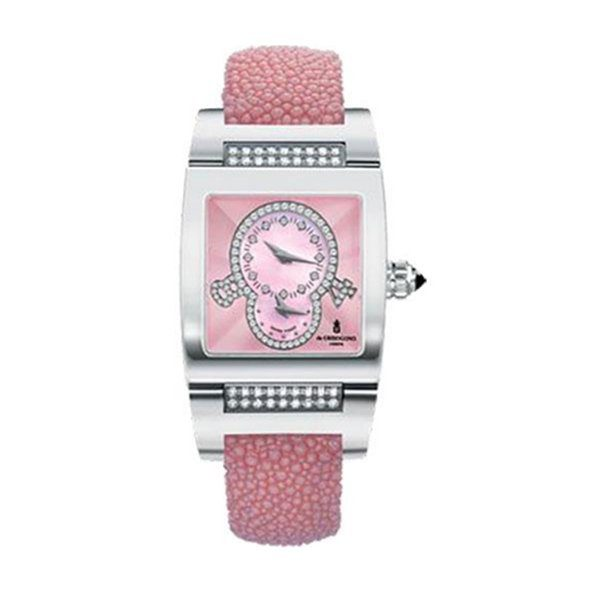 DE GRISOGONO INSTRUMENTINO DUAL TIME ZONE WHITE GOLD DIAMOND BEZEL PINK GALUCHAT STRAP WITH PINK GUILLOCHE DIAMOND DIAL TinoS05QZ