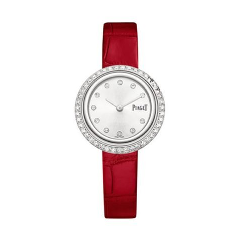PIAGET POSSESSION WATCH WHITE GOLD DIAMOND SILVER DIAL RED STRAP REF.  G0A43084