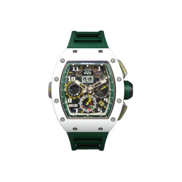 RICHARD MILLE FLYBACK CHRONOGRAPH LE MANS CLASSIC WHITE CERAMIC CASE ON GREEN RUBBER STRAP