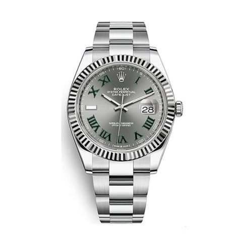 ROLEX DATEJUST 41MM GREY DIAL WITH GREEN ROMAN NUMERAL MEN'S WATCH REF. 126334