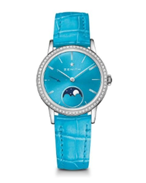 ZENITH ELITE LADY MOONPHASE TURQUOISE LACQUERED 33MM LADIES WATCH REF. 16.2333.692/54.C817