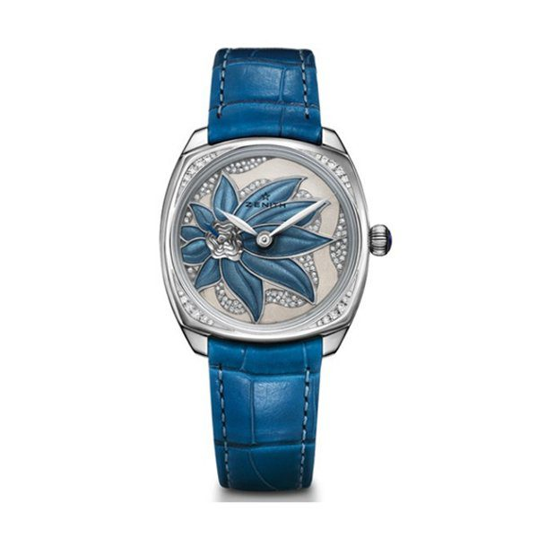 ZENITH STAR BLUE ENAMELED FLOWER DIAL 18K WHITE GOLD LADIES WATCH REF. 45.1972.681/36.C757