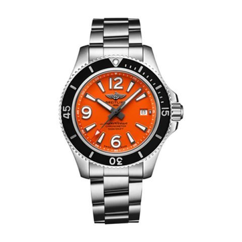 BREITLING SUPEROCEAN 42 AUTOMATIC ORANGE DIAL STAINLESS STEEL MEN'S WATCH REF. A17366D7101A1