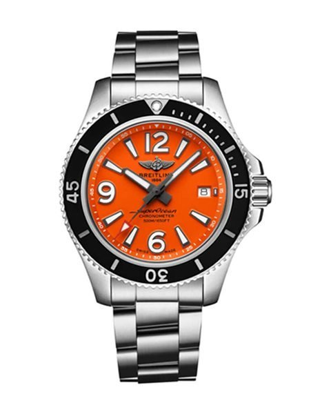 Breitling Pre-owned Superocean 42 Automatic Orange Dial Stainless Steel Men's Watch