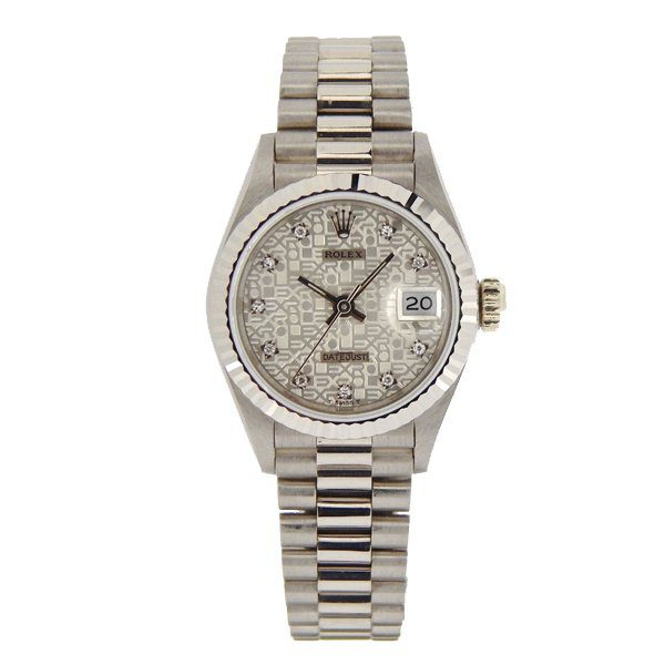 ROLEX SOLID 18K WHITE GOLD DATEJUST PRESIDENT SILVER DIAMOND DIAL 26MM LADIES WATCH REF. 69179