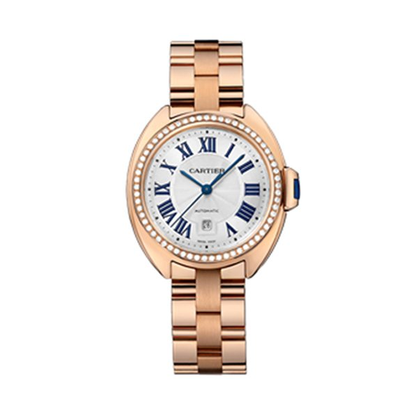 CARTIER CLE DE CARTIER 31MM PINK GOLD DIAMOND CASE WHITE DIAL LADIES WATCH REF. WJCL0046