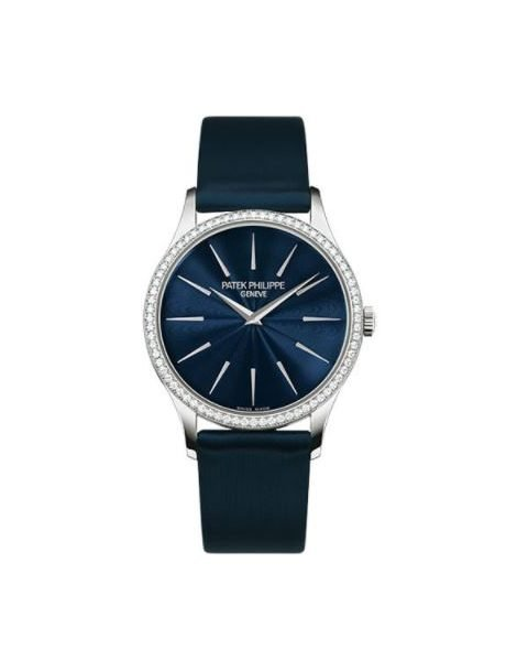 Patek Philippe Pre-Owned Calatrava Joaillerie Guilloched Night Blue Dial