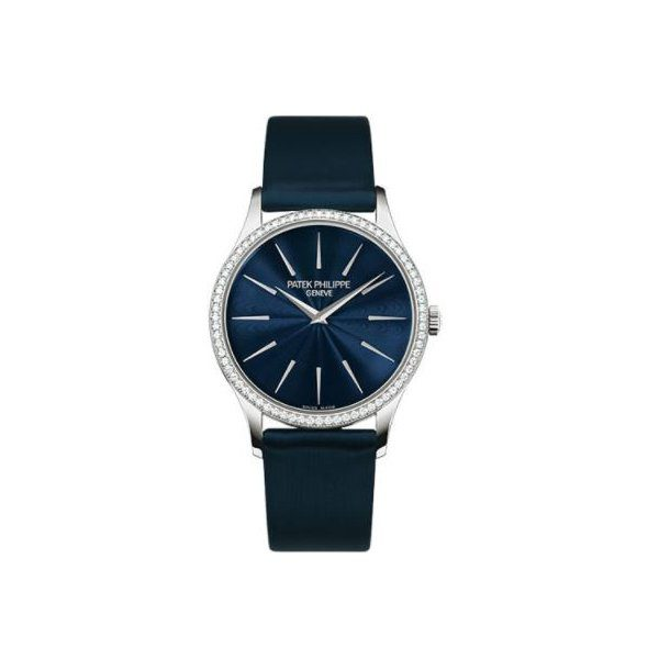 PATEK PHILIPPE CALATRAVA JOAILLERIE GUILLOCHED NIGHT BLUE DIAL