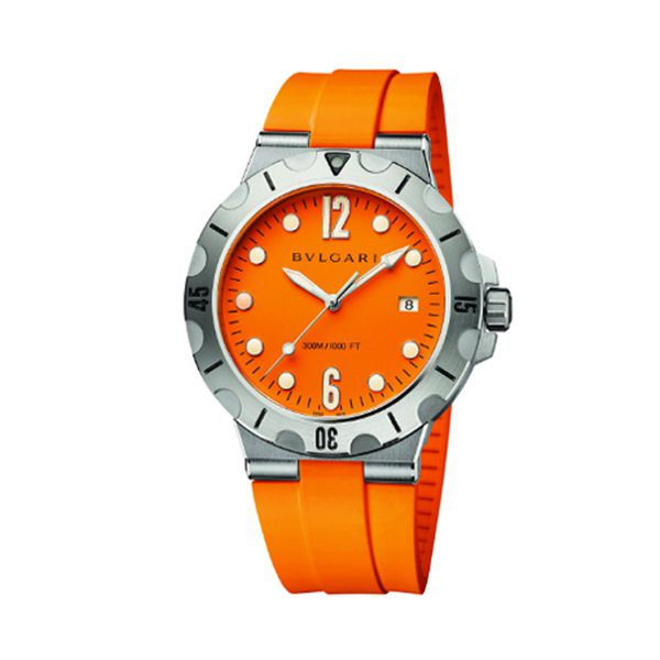 BVLGARI DIAGONO SCUBA AUTOMATIC ORANGE DIAL 41MM MEN'S WATCH REF. 102787